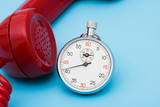 Stop watch with telephone – very quick response time poster
