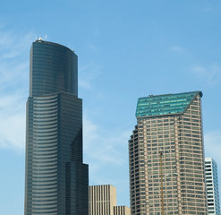 Two office towers in downtown seattle