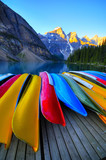 Canoes rest on the dock of Lake Moraine, Banff, Canada
