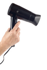 object on white - hair-drier in hand