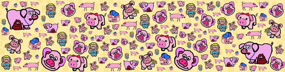 Oink! Oink! Piggy! Cartoon Border