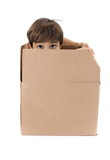 Child hidden inside of a box . poster