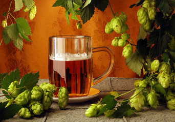 Mug of beer with hops in retro style