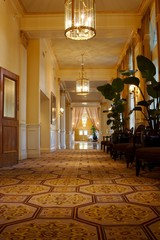 An image of an elegant hallway in an upscale hotel
