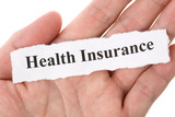 Headline of Health Insurance with blue background poster