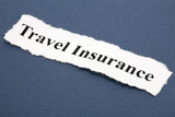Headline of Travel Insurance with blue background poster