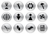 Gadget icons set. Gray - black palette. Vector illustration. poster