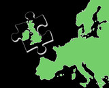 Jigsaw piece with Britain separated from Europe poster
