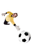 Young goalkeeper in action. Full isolated studio picture poster