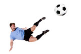 Soccer player in action. Full isolated studio picture poster