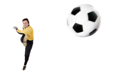 Young goalkeeper in action. Full isolated studio picture