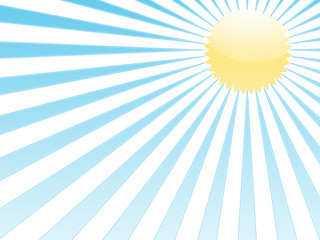 blue rays and yellow sun on white background