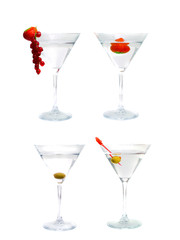 Assortment of cocktails from martini. Isolation