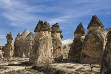 Strange and amazing stone formations in Cappadocia, Turkey