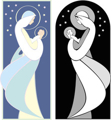Virgin Mary and Baby Jesus Illustration