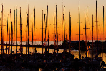 yachts at sunset at pirita harbor, Tallinn, Estonia