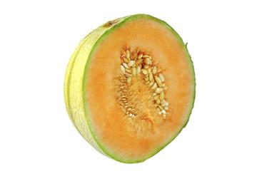 Netzmelone aufgeschitten halbprofil