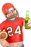 Middle aged football fan wearing his old uniform with beer poster