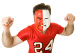Angry sports fan with a painted face, raising his fists poster