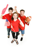 Group of football fans going wild.  Full body isolated on white. poster