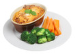 Individual shepherds pie with carrots and broccoli