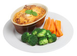 Individual shepherds pie with carrots and broccoli poster