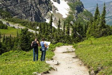 hikers checking the map on a trail in Glacier National Park
