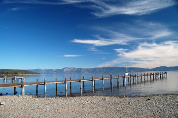 Lake Tahoe pier into the water