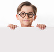 Face of youthful boy in glasses
