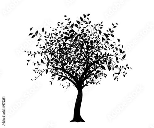 vecteur série - arbre noir isolé sur fond blanc - 9372291