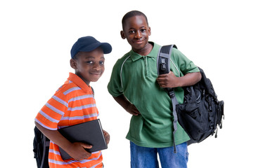 Two african american brothers ready for school.