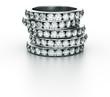 3d rendering of 5 diamond rings