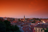 a beautiful view of Zagreb at the sunset poster