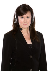 brunette with headset on the white isolated background