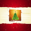 green christmas tree over golden background