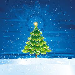green christmas tree in th dark night