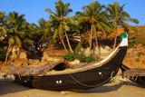 Fishing boat in Muslim village poster