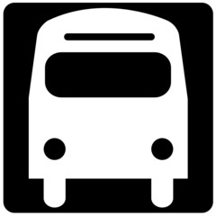 black and white illustration of the front of a bus