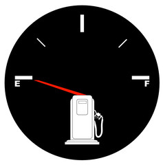 vehicle fuel gauge with arrow pointing to empty - illustration