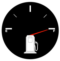 vehicle fuel gauge with arrow pointing to full - illustration