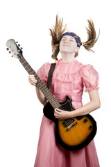 Young girl with an electric rock guitar
