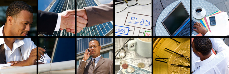 Collection and Collage of modern day business
