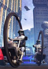 Police in futuristic city