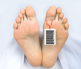 Two feet of a dead body with an identification tag - bar code