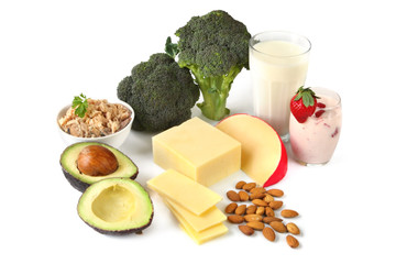 Calcium-rich foods, on white background.