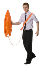 businessman with the rescue buoy