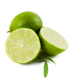 Green limes on white backgrond