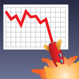 Business chart line with rocket crashing down - 9390250