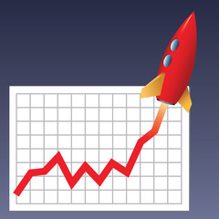 Business chart with a rocket going up
