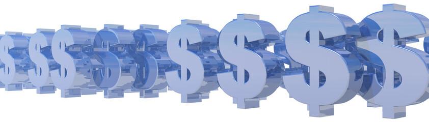 metallic dollar symbols on white background - 3d illustration